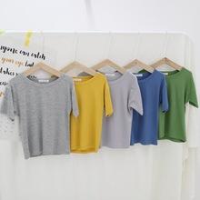 Y084/Y085簡約可愛兒童短袖T恤 糖果色圓領童裝夏季寶寶打底衫