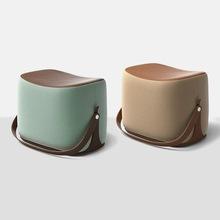 北歐馬鞍矮凳ins現代簡約手提換鞋凳個性時尚創意家用穿鞋凳腳踏