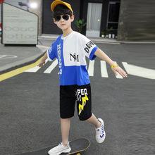 童裝夏季新款男童字母套裝中大男孩潮酷撞色兩件套免費代理代發潮