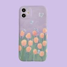 紫色郁金香適用華為nova5/6mate30/p3040pro手機殼硅膠保護套軟女