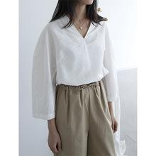 東大門2021春夏新款百搭韓版白色純色V領寬松套頭休閑襯衫女高端