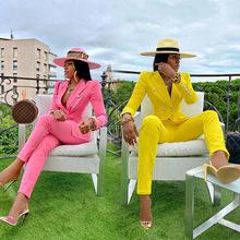 2020秋季新款跨境時尚女裝氣質休閑西裝外套直筒褲兩件套ZL1330