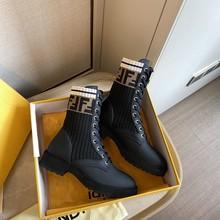 楊冪明星同款女靴短靴2021新中筒馬丁靴彈力襪靴長筒系帶平底女鞋