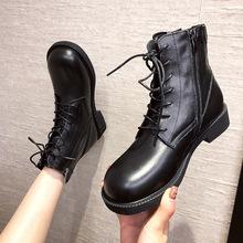 2020新款真皮馬丁靴女純色簡約前系帶冬季圓頭馬丁靴靴側拉鏈3cm
