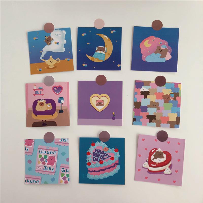 可爱少女心小熊韩国ins明信片小熊卡片做家务的浪漫生活墙贴贺卡-