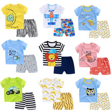 新款兒童短袖套裝 嬰兒T恤 棉質短袖短褲兩件套 廠家地攤貨源