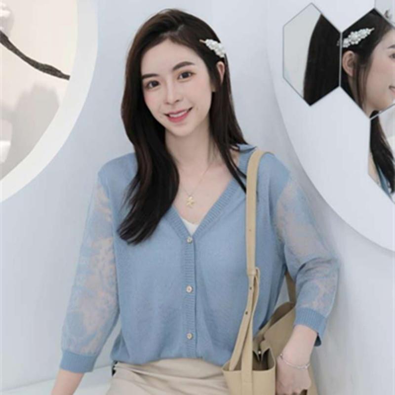 品牌2019秋季OL氣質開衫長袖V字領寬松型毛衣女式針織衫代理加盟
