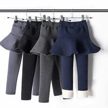 冬款童裤女童加绒加厚打底裤冬季假两件裙裤中大儿童纯色纯棉裤子