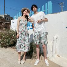 2020夏季新款韓版沙灘度假女吊帶連衣裙男短袖T恤+褲子情侶裝批發