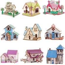 批發木質立體拼圖創意木屋建筑拼裝模型兒童益智木制玩具地攤批發
