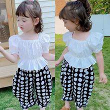 兒童甜美套裝夏款女童襯衫上衣+哈倫褲兩件套3-8歲童裝一件代發
