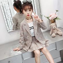 洋氣小西裝套裝格子女童春秋裝短裙長褲中大童時尚兩件套代理加盟