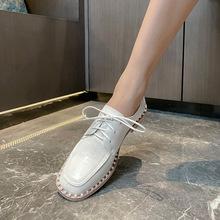 單鞋女士韓版2021年春秋新款方頭中跟珍珠系帶粗跟深口時尚小皮鞋