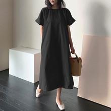 創意款2021春季OL氣質女裝棉麻短袖圓領大擺型連衣裙代理加盟