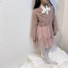 跨境童优游棋牌游戏2020春秋季优游棋牌游戏新款外套女童风衣小香风裙西优游棋牌游戏儿童外套外贸