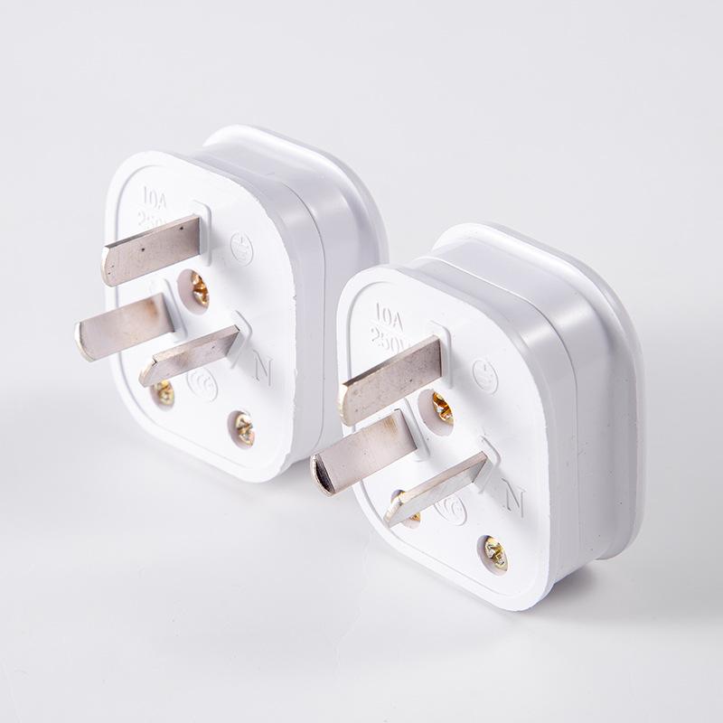 信达泰白色大功率三极电源插头 三脚纯铜插只 接线插头
