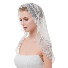 跨境歐美專供新娘蕾絲花邊頭巾新娘頭飾頭紗短款紗披單層遮面紗