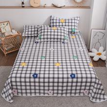 直銷印花全棉老粗布涼席三件套床上用品純棉花邊粗布床單被單代發