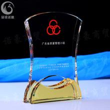 批發水晶金色凹底獎牌 代理商授權牌 榮譽牌 加盟聘創意商務禮品