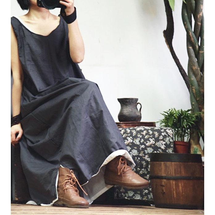 現貨品牌2017文藝國風復古日系女裝無棉無袖圓領連衣裙代理加盟