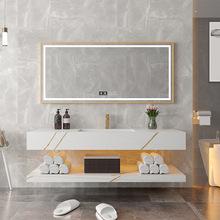 巖板一體盆浴室柜組合現代簡約洗手池洗臉面盆柜衛生間洗漱臺