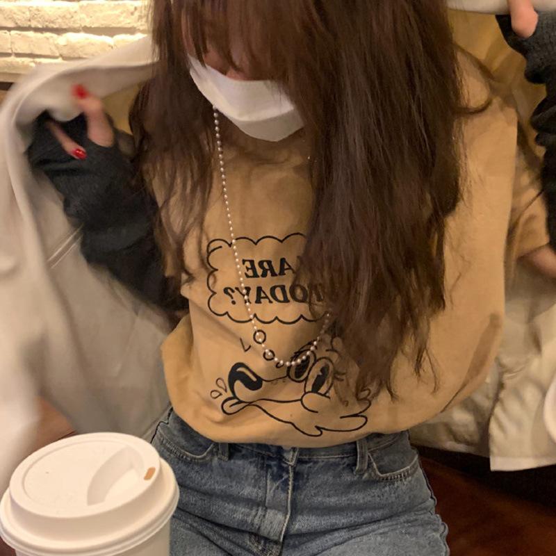 韓版寬松印花短袖T恤女 顯瘦圓領套頭內搭上衣2021春潮可代理代發