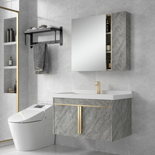 不銹鋼輕奢風浴室柜組合小戶型衛生間吊柜洗手盆一體洗漱臺洗臉盆