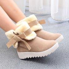 蝴蝶結女士短靴保暖雪地靴棉靴女