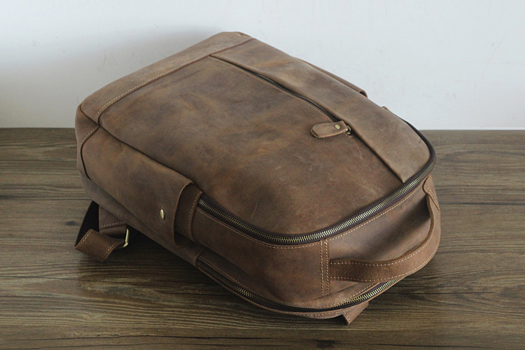 Men 100% Genuine Leather Laptop Backpacks Male Vintage Casual Backpacks Men's Travel Holder 14inch 15.6inch Computer School Bags 5