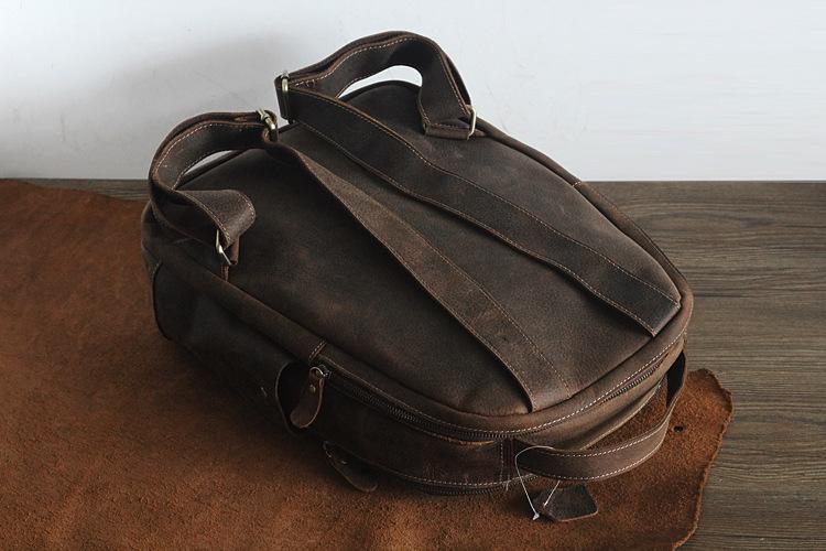Men 100% Genuine Leather Laptop Backpacks Male Vintage Casual Backpacks Men's Travel Holder 14inch 15.6inch Computer School Bags 17