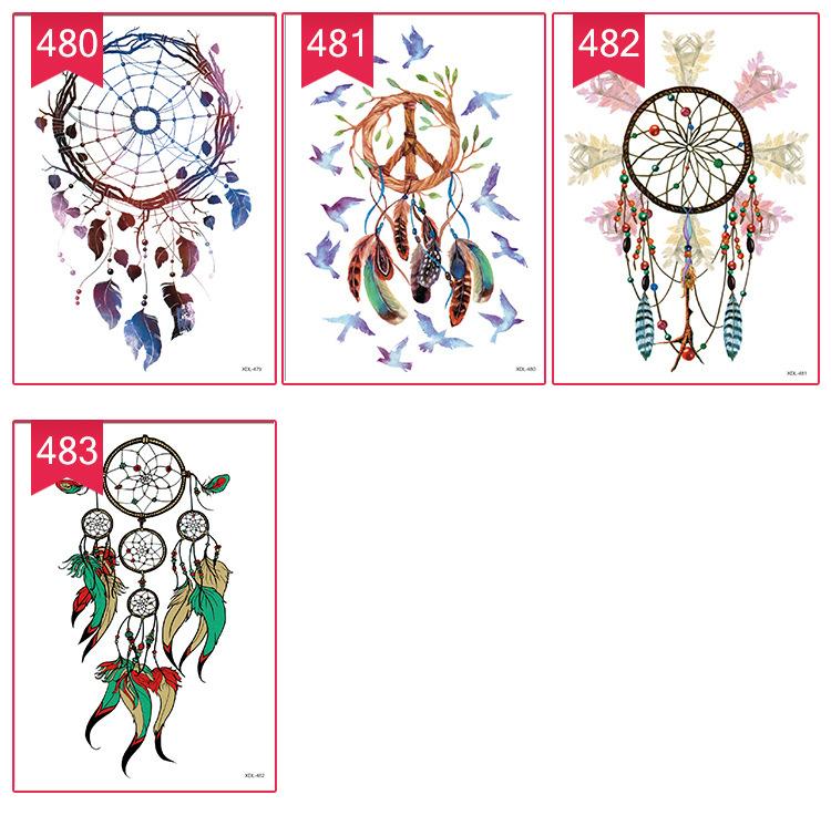 3pcs missrose Dream catcher Decal Waterproof DIY Tattoo Sticker Women Body Art Dream Catcher Indian Feather Temporary Tattoo 6