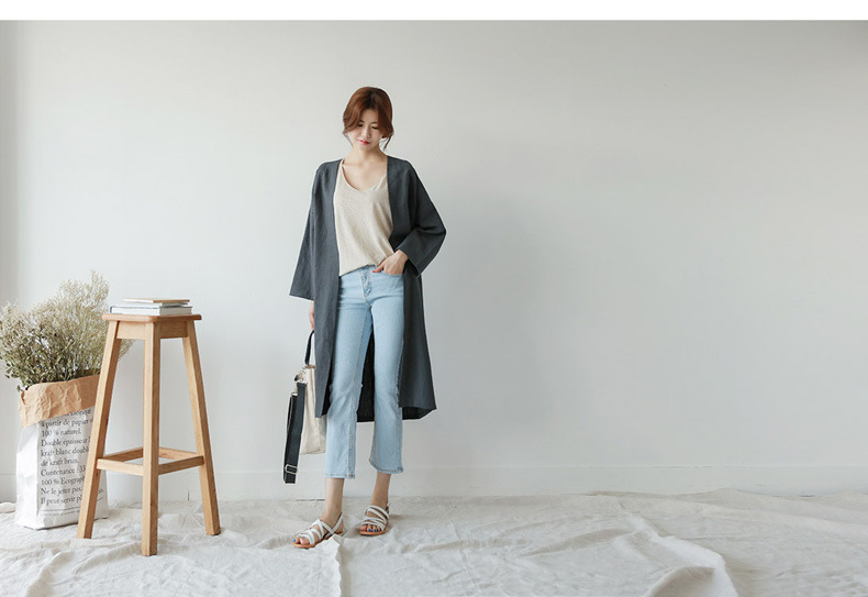 Medium Long Cotton And Linen Sun Protection Clothing Female Autumn Large Size Loose Thin Over Knee Cardigan Trench Coat MZ2923 9