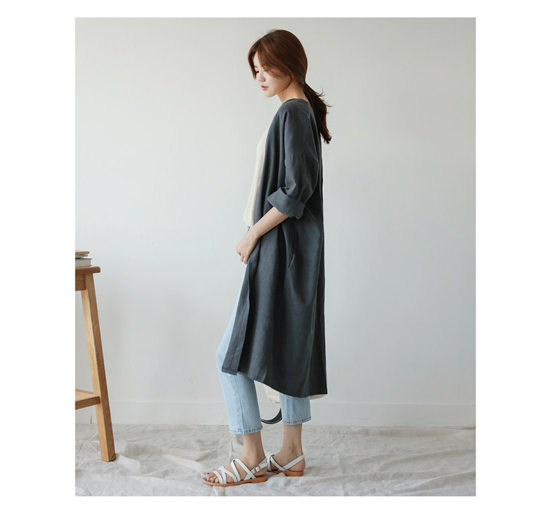 Medium Long Cotton And Linen Sun Protection Clothing Female Autumn Large Size Loose Thin Over Knee Cardigan Trench Coat MZ2923 12