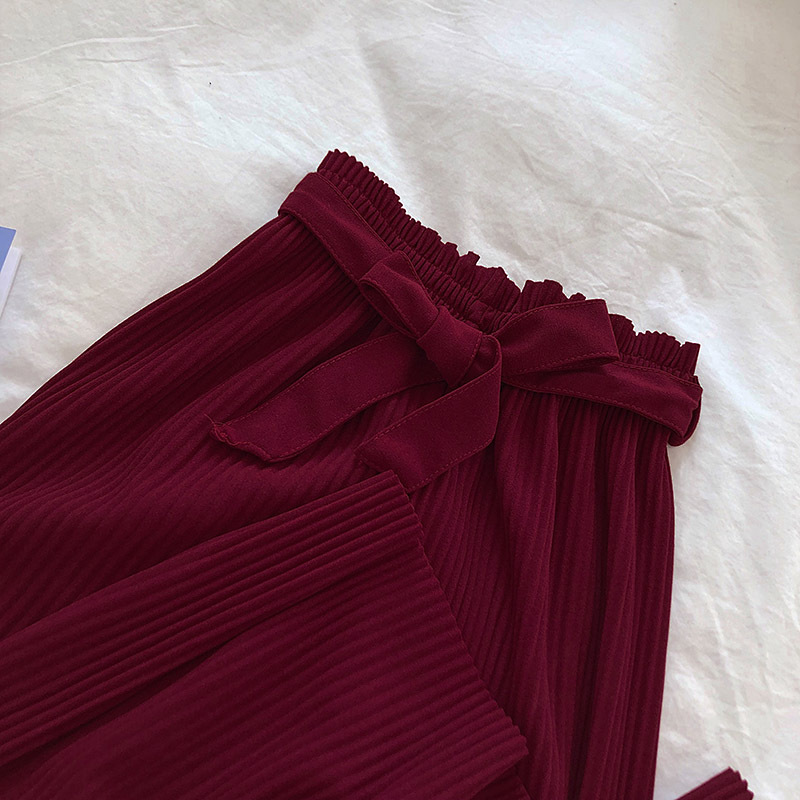 New 19 Korean Women Wide Leg Pants Loose High Waist Solid Pants Casual Vertical Soft Pleated Pant Trousers Femme 24