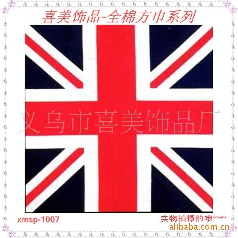 全棉英国国旗方巾体育球迷用品头巾定制印花球迷围头巾厂家批发