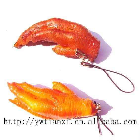 仿真红烧鸡爪挂件,仿真食品,钥匙链,扣,挂饰 18g