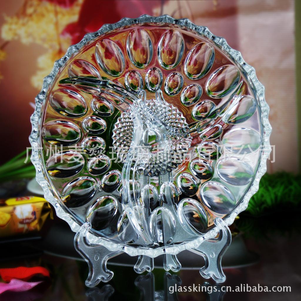 新款透明玻璃果碗水果盘创意时尚珠点三隔玻璃餐盘玻璃盘子一件起