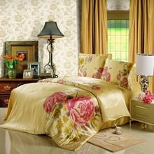 床上用品手繪真絲四件套桑蠶絲雙面絲綢床單被套工廠批發一件代發