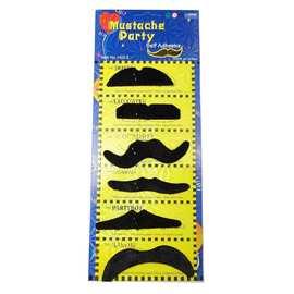 黑色6个一板的搞笑造型假胡子 万圣节愚人节用品16g