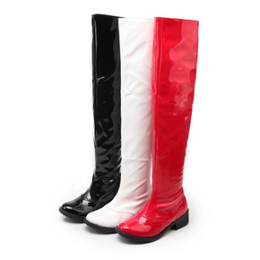 Low heel high boots patent leather side zipper shoes steel pipe dance boots large women's Boots