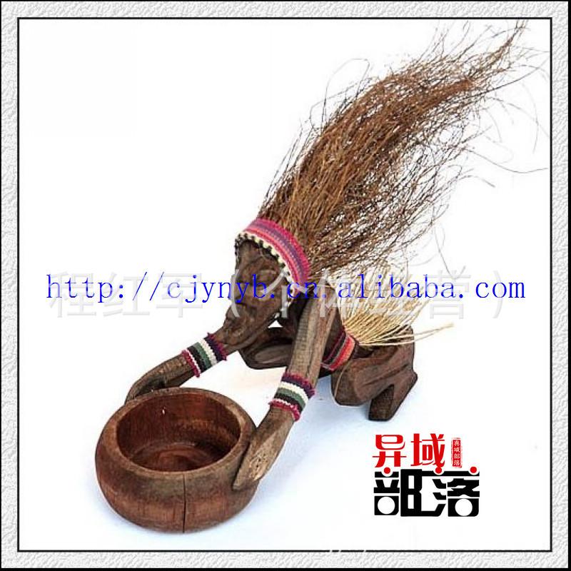 木制工艺品 家居饰品 纳西族避邪 原始部落人烟缸2件起批L0394-41