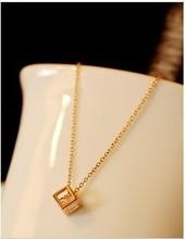 批发欧比雅比 韩国 镀18K金色 水晶锆石 小方块 锁骨链 项链 女