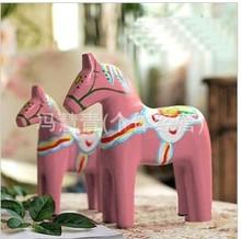 超值经典红马2件套装 瑞典达拉木质彩绘粉色木马 家居装饰品摆件