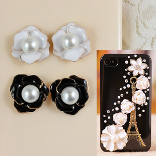 Pearl camellia iphone4s mobile phone shell beauty stickers diamond diy jewelry accessories alloy materials
