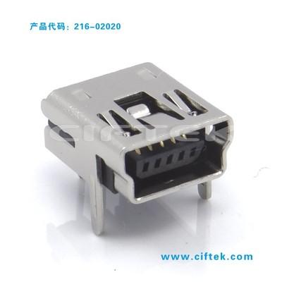 【专业厂家】供应MINI USB 5P母座 弯针焊板带两固定脚