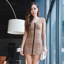 6621韩国代购 2015韩版秋装时尚网纱抓皱拼接修身洋装裙  25元