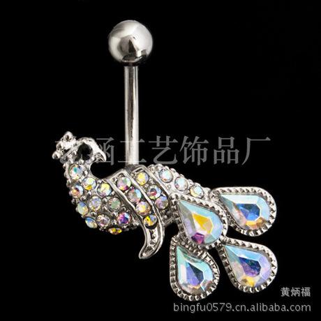 Đâm thủng vòng rốn ánh sáng mới kết hợp con công đầy màu sắc Trương Bá Chi với móng tay rốn AliExpress bán nóng