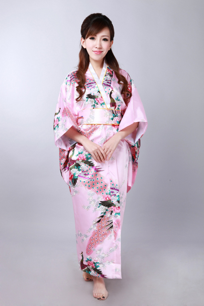 New Vintage Japanese Kimono Costume Geisha Dress Obi Gown Pink Robe | eBay