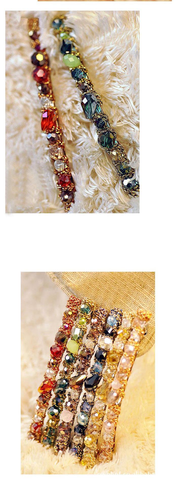 Korean colorful flash irregular crystal around the wide side headband  wholesale NHDP246006