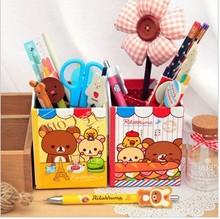 韓國文具 創意收納盒 DIY紙質收納盒 輕松熊收納盒 筆筒盒批發